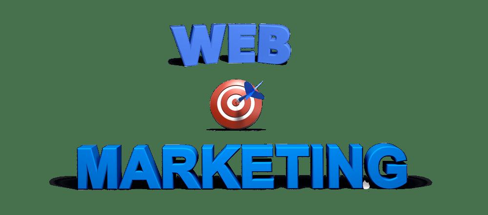 """scritta """"web marketing"""" e un'icona di un bersaglio centrato da una freccia."""