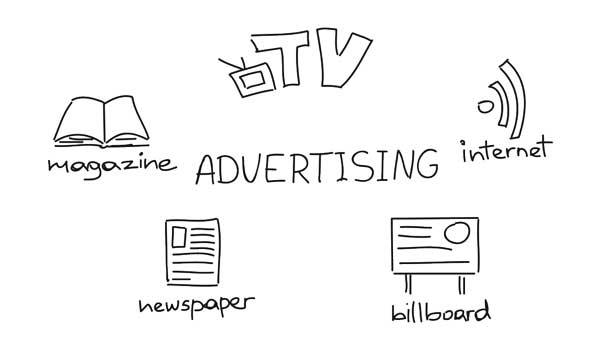 """scritta centrale """"advertising"""" circondata dalle scritte """"tv, magazine, internet, newspaper, billboard"""" e le relative icone"""