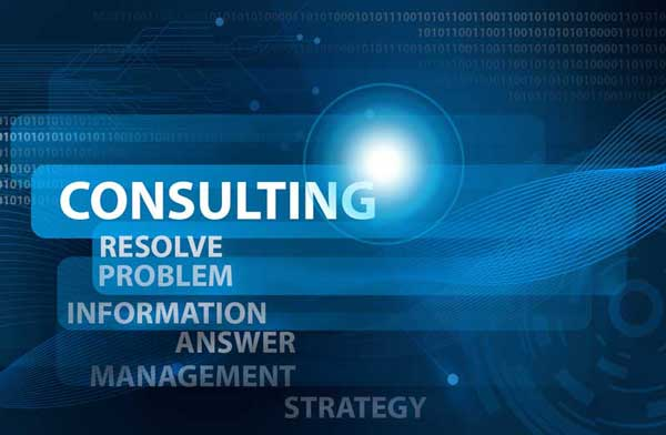 "scritte bianche su sfondo blu: ""consulting, resolve problem, information, answer, management, strategy"""