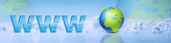 """scritta """"www"""" affiancata dall'icona del pianeta terra su sfondo azzurro"""